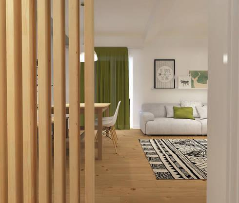 Casa do Pedro e da Sónia: Salas de estar escandinavas por Homestories