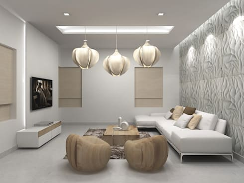 VILLA AT THIRUVANMALAI: modern Living room by De Panache  - Interior Architects
