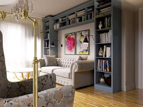 Уютная квартира в г. Москве, 41 кв.м.: Гостиная в . Автор – Мастерская дизайна ЭГО