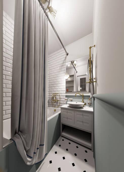Уютная квартира в г. Москве, 41 кв.м.: Ванные комнаты в . Автор – Мастерская дизайна ЭГО