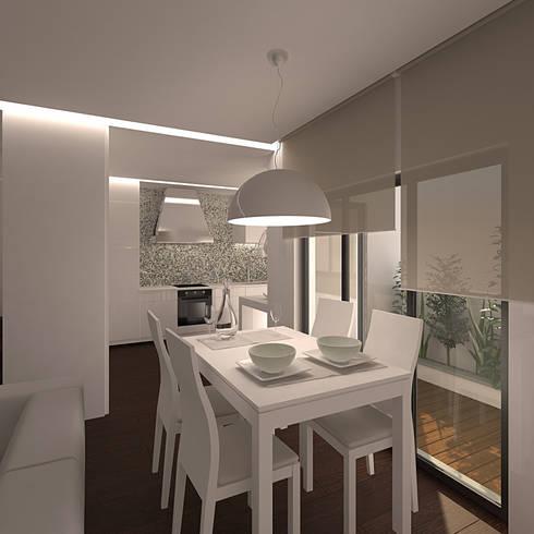 Reformulaçao de um apartamento no centro historico: Salas de jantar minimalistas por 2L'atelier arquitectos