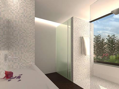 Reformulaçao de um apartamento no centro historico: Casas de banho minimalistas por 2L'atelier arquitectos