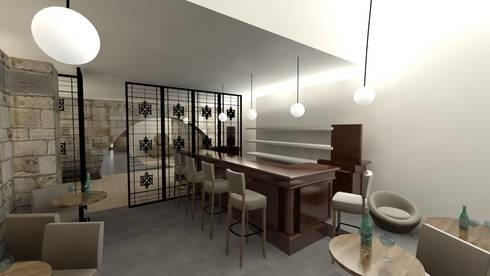 Balcão do Bar: Adegas modernas por A3 Ateliê Academia de Arquitectura