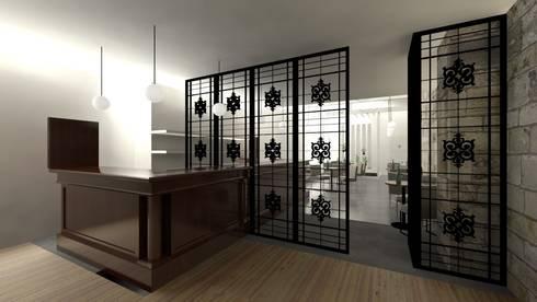 Balcão da Loja e Bar: Adegas modernas por A3 Ateliê Academia de Arquitectura