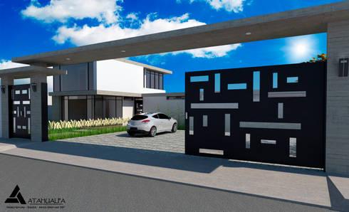 Render Vista Fachada Posterior: Casas de estilo moderno por Atahualpa 3D