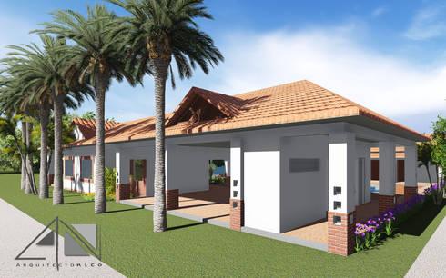 Casa RG - Fachada principal:  de estilo  por ARQUITECTOnico