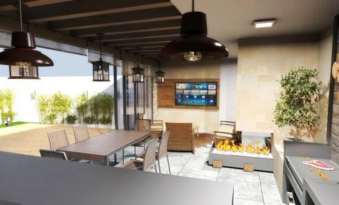 COMEDOR - TERRAZA: Balcones y terrazas de estilo rústico por PROYECTARQ   ARQUITECTOS