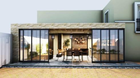 TERRAZA: Balcones y terrazas de estilo rústico por PROYECTARQ   ARQUITECTOS