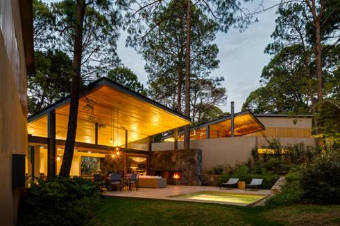 Fachada jardín - Casas 2 y 3: Casas de estilo escandinavo por Weber Arquitectos