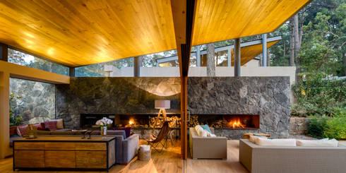 Sala y Terraza - Casa 2: Salas de estilo rural por Weber Arquitectos