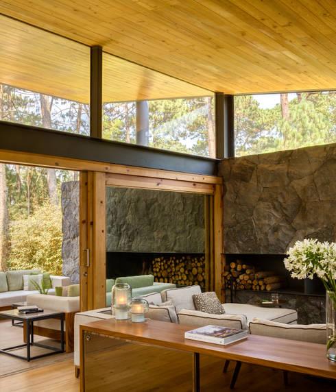 Sala y terraza - Casa 5: Salas de estilo rural por Weber Arquitectos