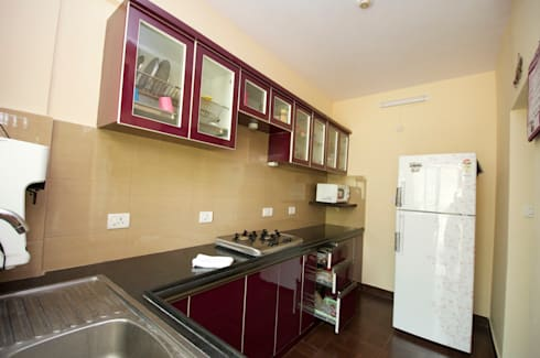 Residential interior project at sarakki bangalore by for Kitchen cabinets bangalore