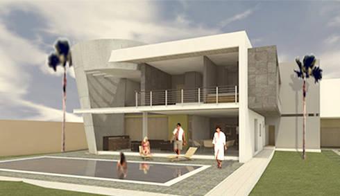 FACHADA POSTERIOR: Casas de estilo minimalista por AD+d