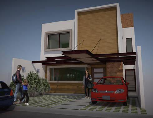 FACHADA PRINCIPAL CASA CH: Casas de estilo minimalista por AD+d