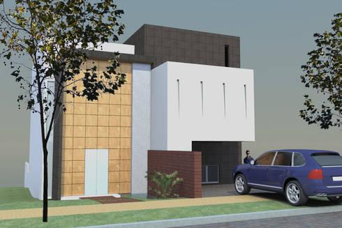 EXTERIOR ACCESO CASA MP: Casas de estilo minimalista por AD+d