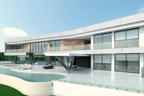 Fachada principal. Zona habitaciones: Casas de estilo moderno por Area5 arquitectura SAS