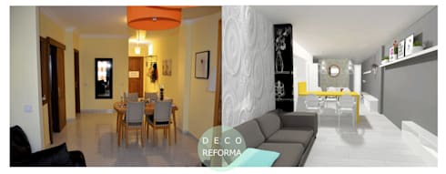 New Look_ salón-cocina-despacho 3en1!:  de estilo  de Kiki Karam TuArquitectaPersonal