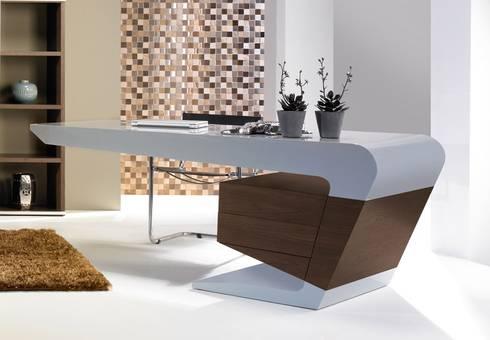 Secretárias Desks www.intense-mobiliario.com  URSULA http://intense-mobiliario.com/pt/secretarias/3481-secretaria-ursula.html: Escritório  por Intense mobiliário e interiores;