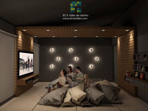 El Lago : Salas multimedia de estilo moderno por BCA taller de diseño