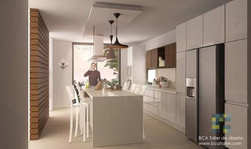 El Lago : Cocinas de estilo moderno por BCA taller de diseño