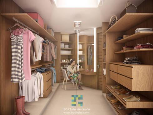 El Lago : Vestidores y closets de estilo moderno por BCA taller de diseño
