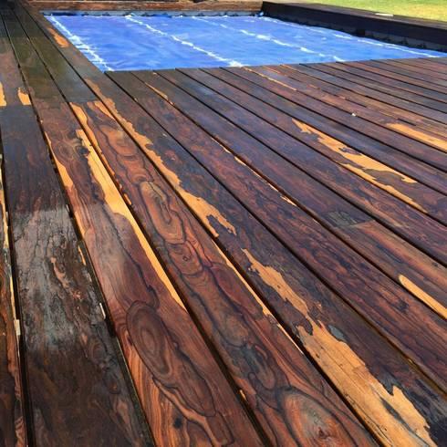 DEC DE CIRICOTE EN ALBERCA, EXCLUSIVIDAD Y ELEGANCIA EXCELENTE PRECIO: Jardín de estilo  por woodlosophy