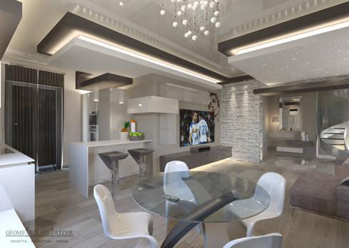 Ristrutturazione soggiorno moderno di geometrie abitative for Casa interni design