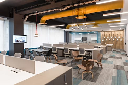 Corporativo R: Estudios y oficinas de estilo moderno por ARCO Arquitectura Contemporánea