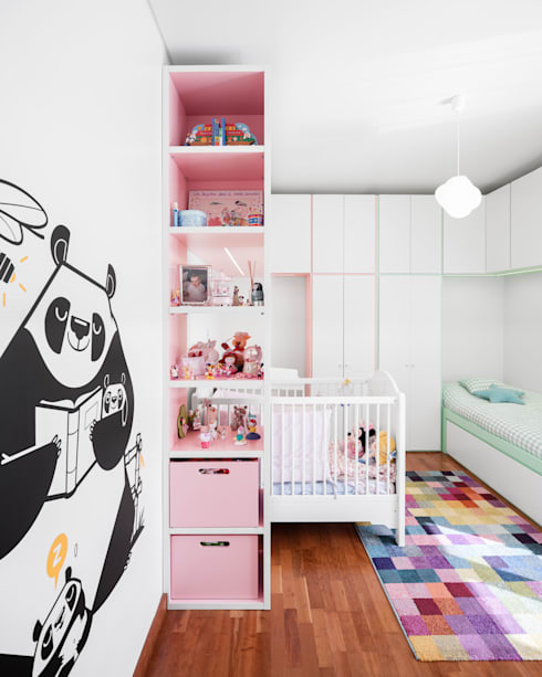 Apartamento Terraços da Ponte: Quartos de criança modernos por Estúdio AMATAM