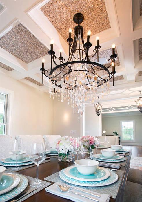 Random Chip Freshwater Mosaic Ceiling:  Dining room by ShellShock Designs
