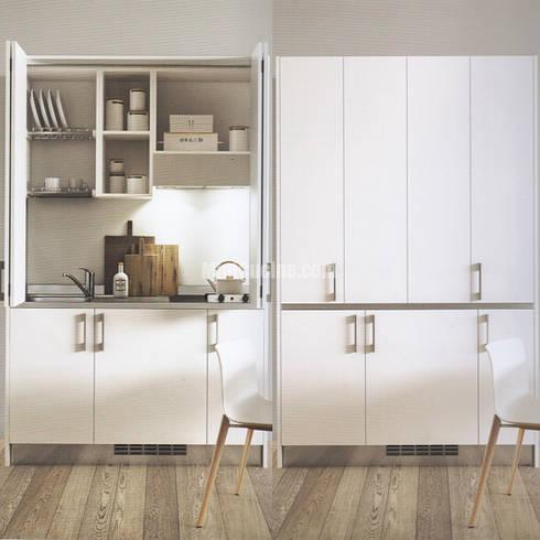 Mini cucina a scomparsa con chiusura ante a libro di for Cucina in armadio