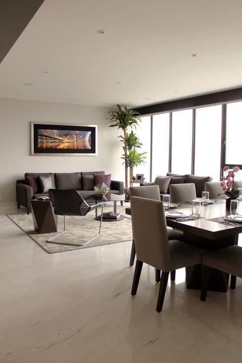 Departamento GD: Salas de estilo moderno por Concepto Taller de Arquitectura