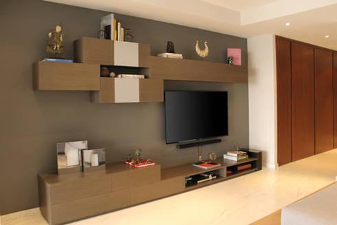 Departamento GD: Salas multimedia de estilo moderno por Concepto Taller de Arquitectura