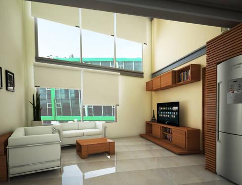 Sala: Casas de estilo minimalista por PRISMA ARQUITECTOS