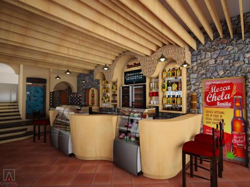 Vista de Barra / despachadora : Oficinas y tiendas de estilo  por PRISMA ARQUITECTOS