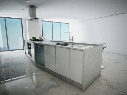 Barra Desayunador vista por dentro: Cocina de estilo  por PRISMA ARQUITECTOS