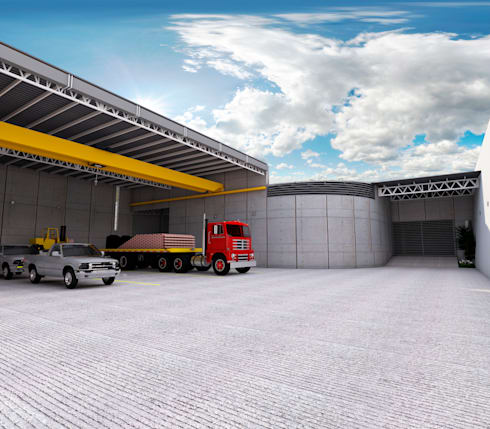Vista anden - entrada a almacén B: Estudios y oficinas de estilo industrial por PRISMA ARQUITECTOS