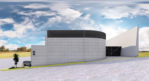 Fachada Lateral: Estudios y oficinas de estilo industrial por PRISMA ARQUITECTOS