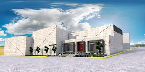 Fachada Principal: Estudios y oficinas de estilo industrial por PRISMA ARQUITECTOS