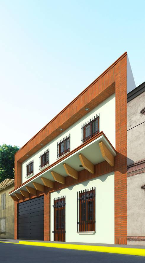 Fachada Café Bricco: Estudios y oficinas de estilo colonial por PRISMA ARQUITECTOS