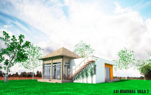 Fachada Villa Campestre: Casas de estilo rústico por PRISMA ARQUITECTOS