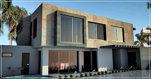 Fachada Lateral - interior: Casas de estilo moderno por PRISMA ARQUITECTOS