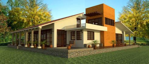 Propuesta de fachada: Casas de estilo rústico por PRISMA ARQUITECTOS