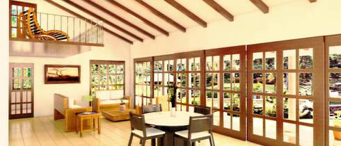 Interior en doble altura de comedor - sala: Casas de estilo rústico por PRISMA ARQUITECTOS