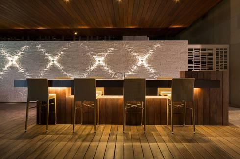 Amenidades Punto Central Fase 2: Terrazas de estilo  por Línea Vertical
