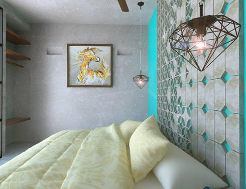 Habitación tipo: Recámaras de estilo rústico por Hipercubo Arquitectura