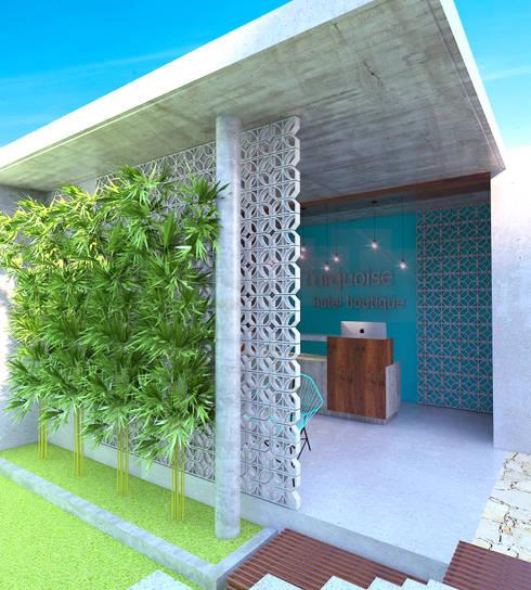 Recepción: Salas de estilo rústico por Hipercubo Arquitectura