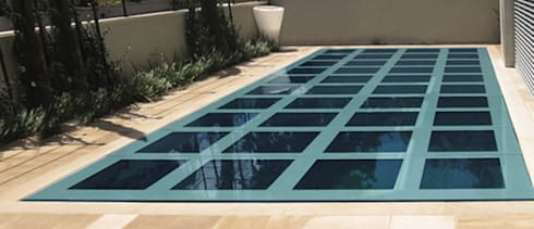 Glass covered Movable Floor: modern Pool by AGOR Engineering