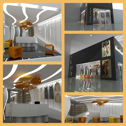 VISTAS PROYECTO MALL SAN FRANCISCO PLAZA: Espacios comerciales de estilo  por CelyGarciArquitectos c.a.