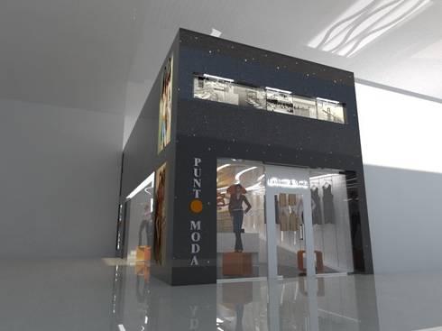 FACHADA PRINCIPAL: Espacios comerciales de estilo  por CelyGarciArquitectos c.a.